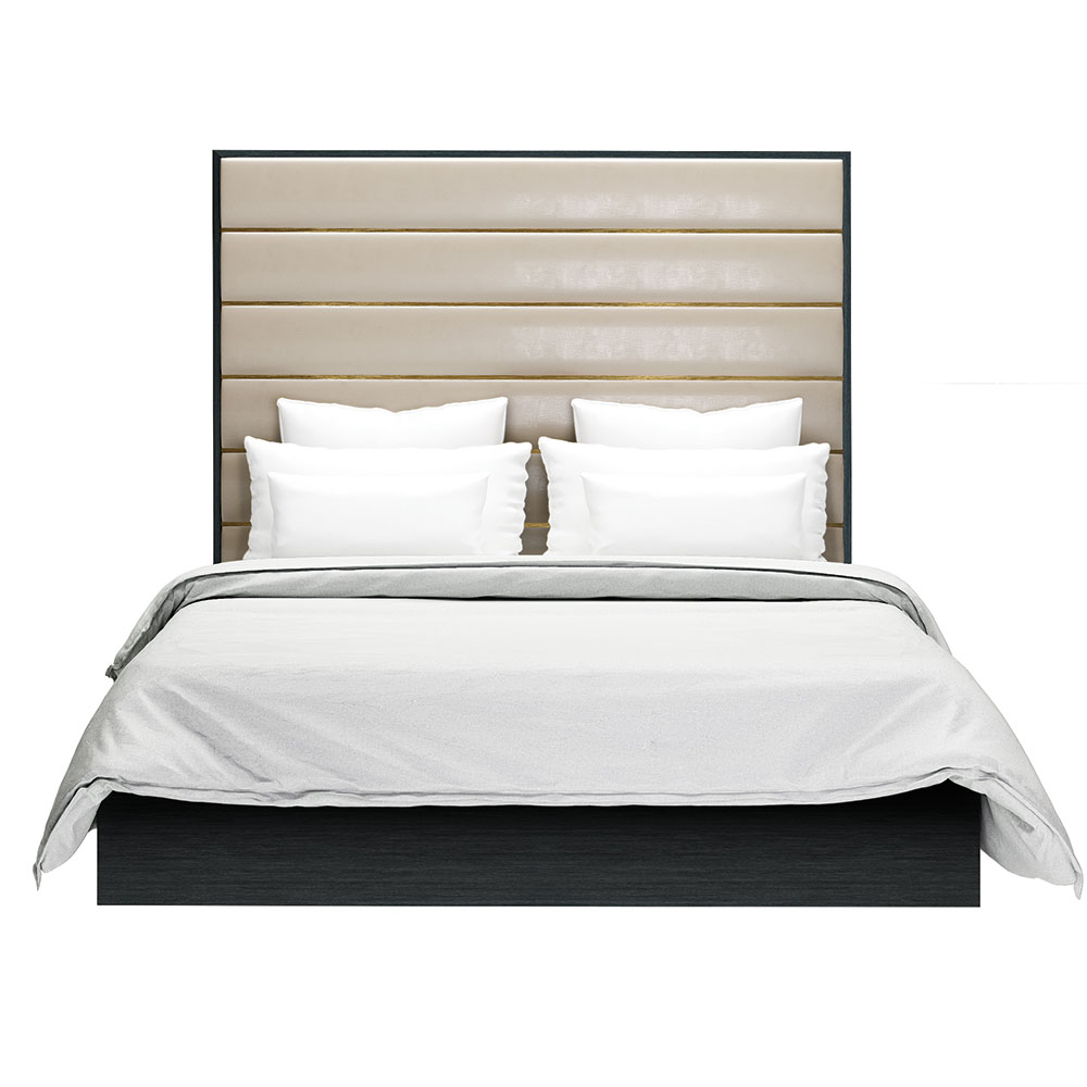 Modern bed with wood metal and fabric