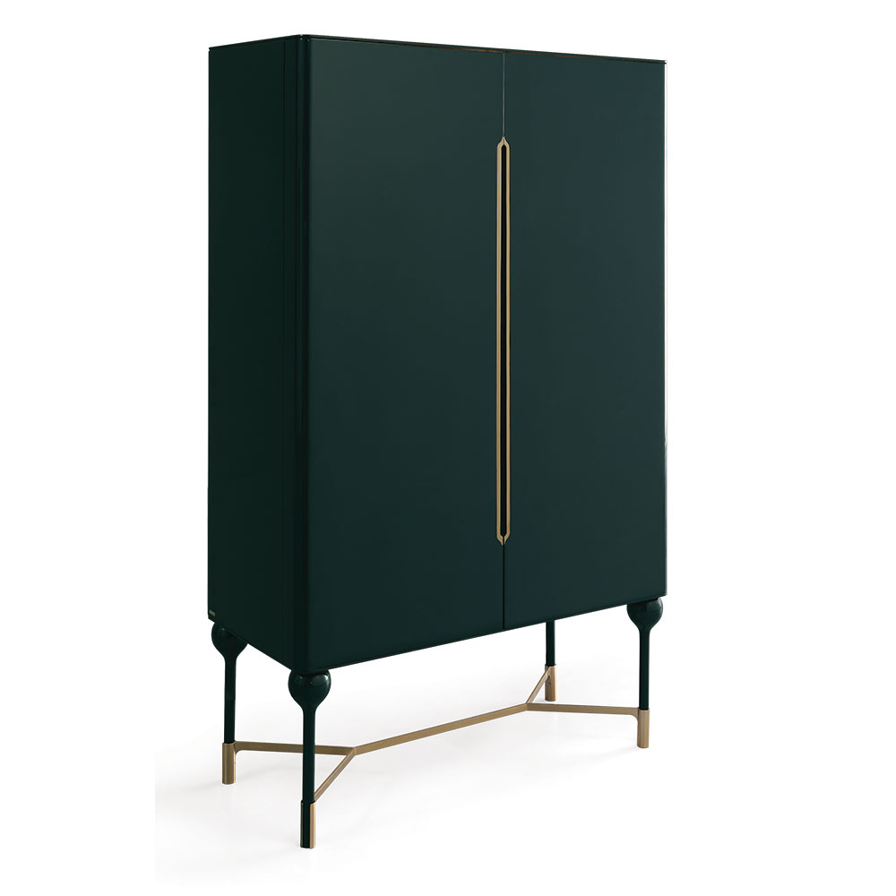 Mid Century Modern Cabinet for storage like barware and servongware in lacquer and brass