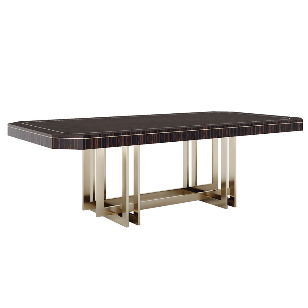 Modern dining table with intersecting brass base and macassar exotic wood top