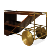 wooden bar cart with brass wheels and details mid century modern