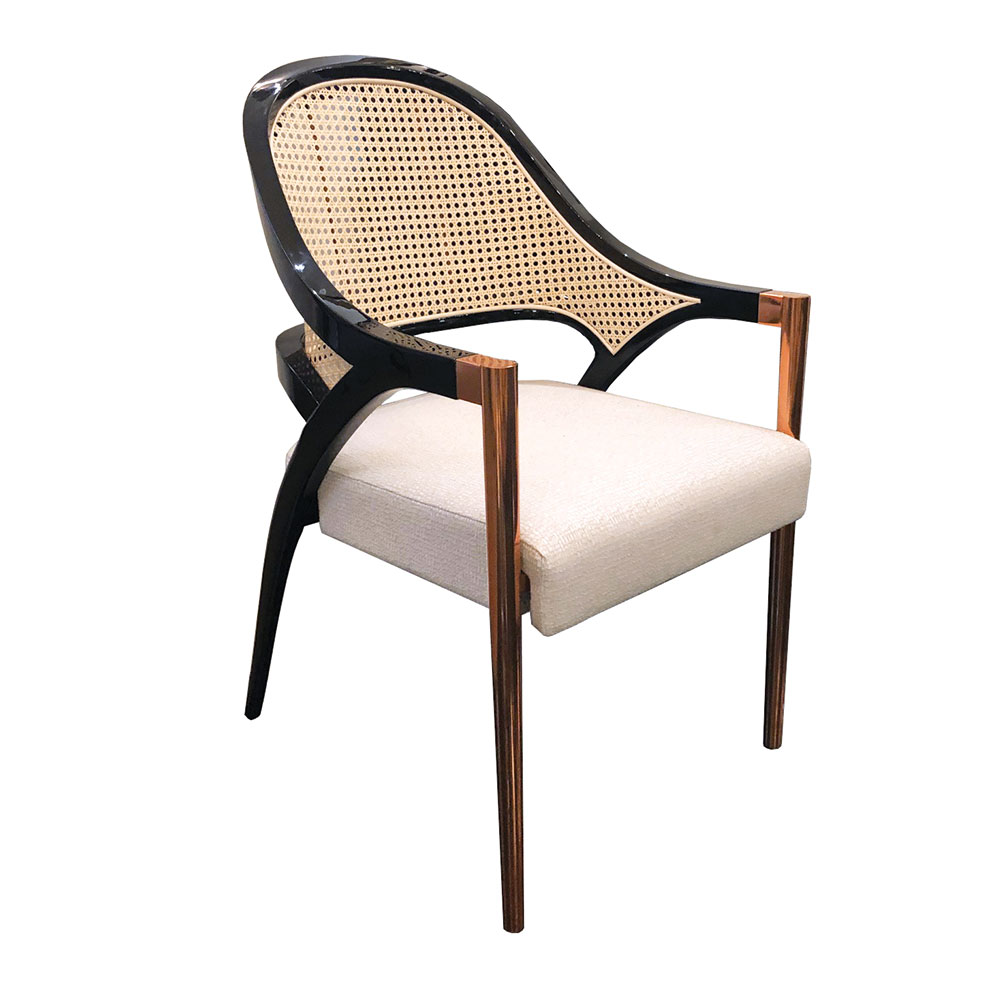 Modern dining and desk chair in lacquer with cane back and metal legs