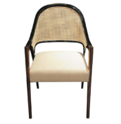 modern dining desk chair with cane back lacquer frame metal brass or copper legs