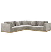 L shaped square arm sectional sofa with recessed brass base