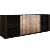 dark wood sideboard with silver leaf layered plank front detail and bronze glass doors