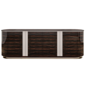 ebony wood racetrack oval sideboard with vertical metal details and base