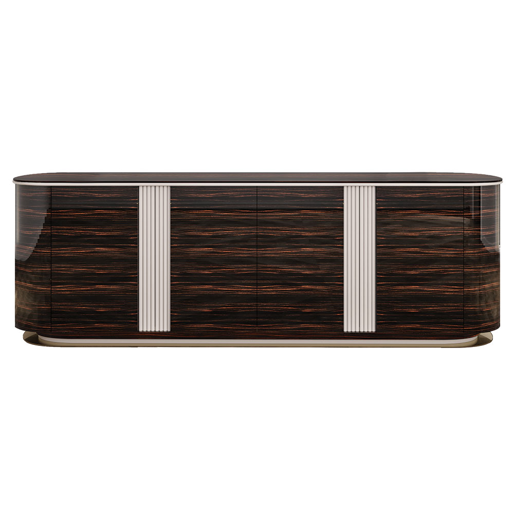 ebony wood racetrack oval sideboard in high gloss with vertical metal details and base