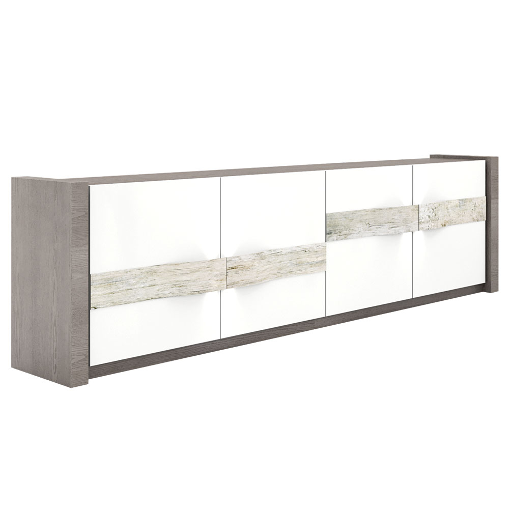 grey wood modern sideboard with white lacquered doors and rustic wood slab handles