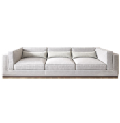 white modern square arm deep sofa with brass base