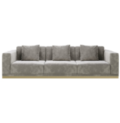 Square arm three seat sofa with brass metal base