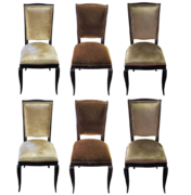 Art Deco dining chairs in rosewood with silk velvet upholstery