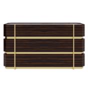 Three 3 drawer low wood and brass metal dresser straight