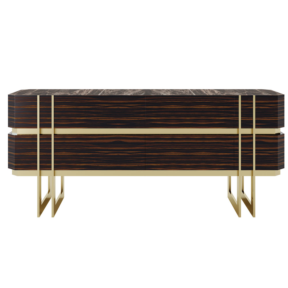 Macassar and brushed brass modern sideboard