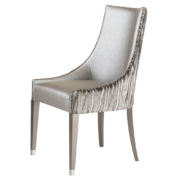 Classic more yet tradition dining chair with curved back and lacquer legs with metal feet caps