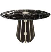 marble dining or entry table with metal details
