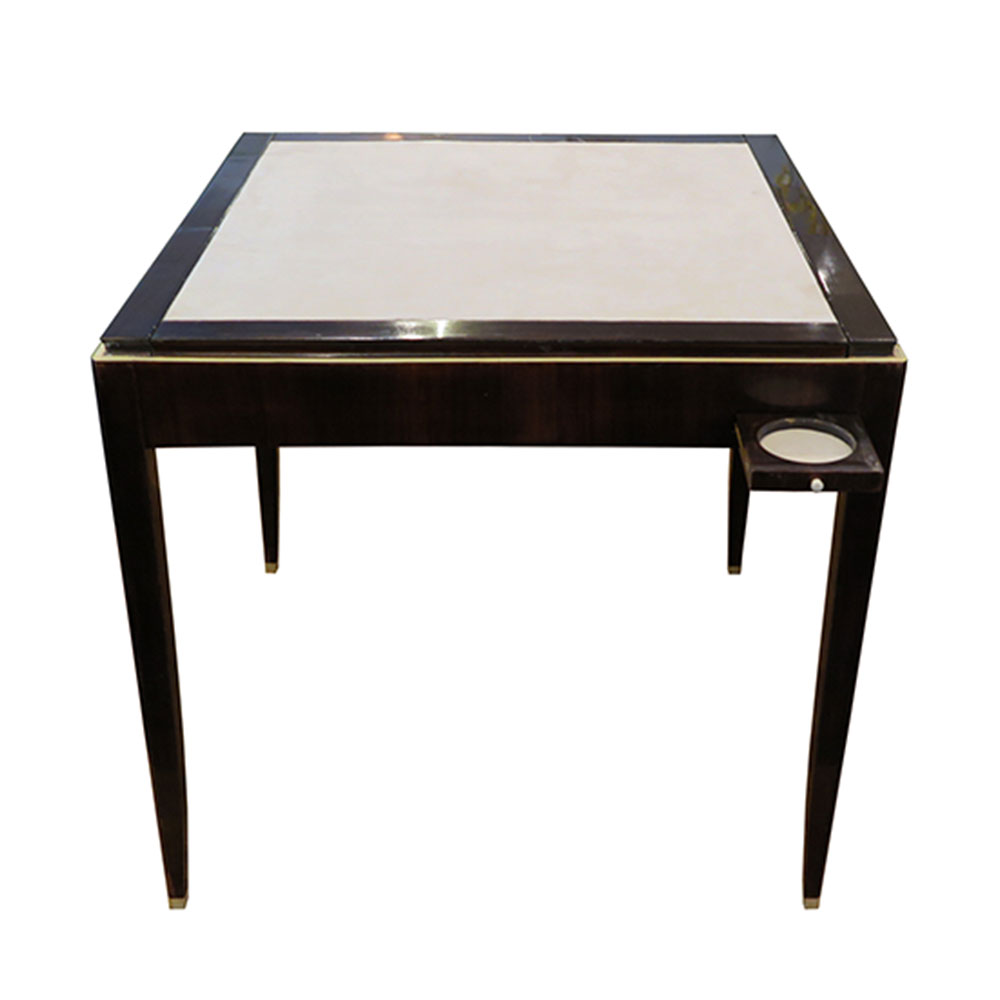 square rosewood table with bone details on top and feet with suede game top and cupholders