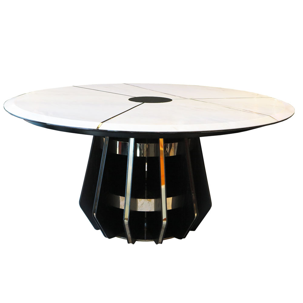 White Maple Dining Table with Brass