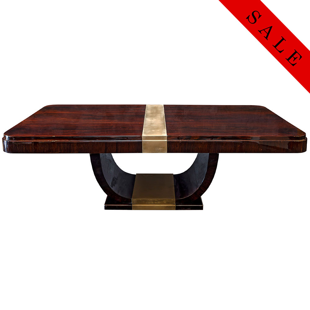 Rosewood rounded corner Art Deco coffee table with antique brass center stripe on top and U-shaped base