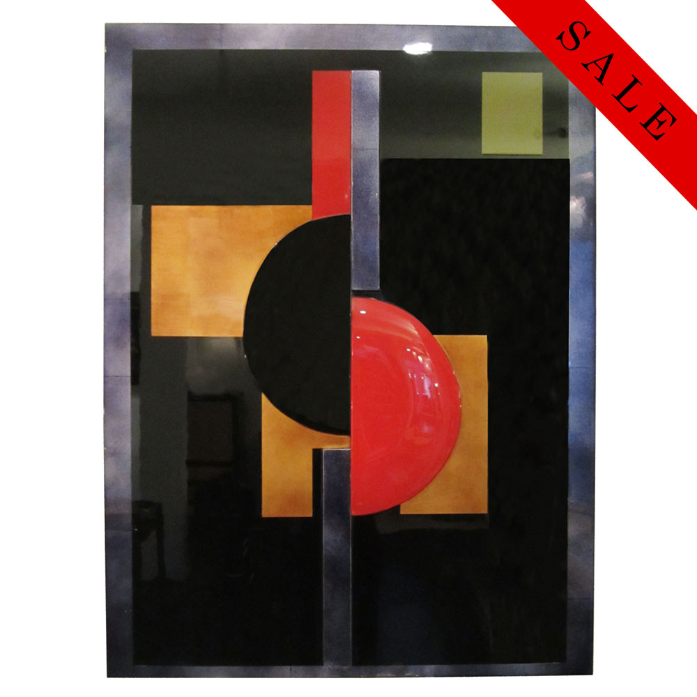 Red black green abstract lacquer panel with geometric relief shapes and gold and silver leaf