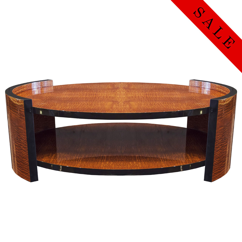 Two-tiered coffee table in exotic wood veneer and lacquer