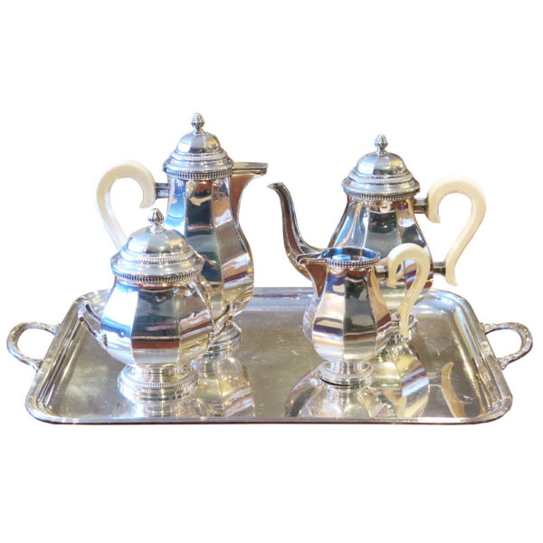 silver and ivory tea set