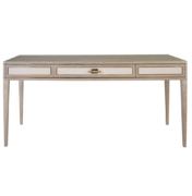 modern light wood writing desk with 3 suede front drawers