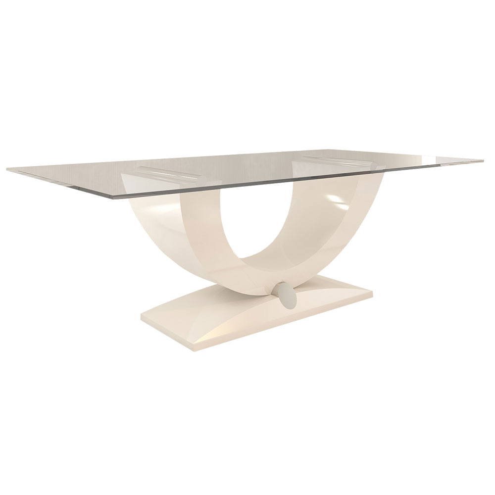 Modern lacquer dining table with glass top and stainless steel accents