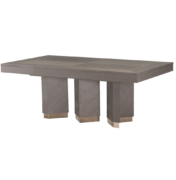 modern wood dining table with 3 angled pedestal legs with brass bases