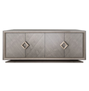 vintage look wood sideboard with 4 doors and diamond brass hardware