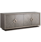 mid-century look wood sideboard with 4 doors and brass metal hardware