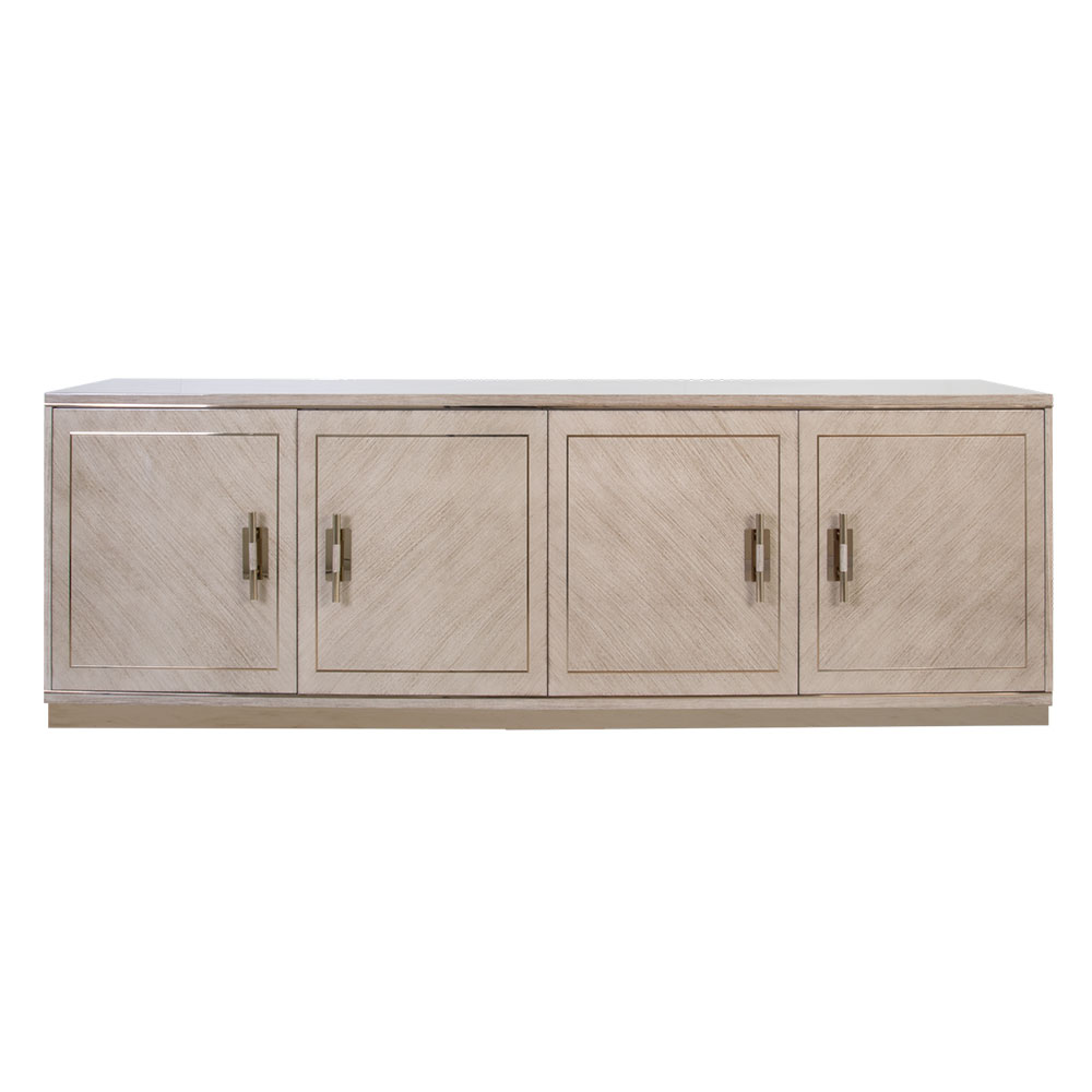 wood sideboard with 4 cabinet doors and metal hardware
