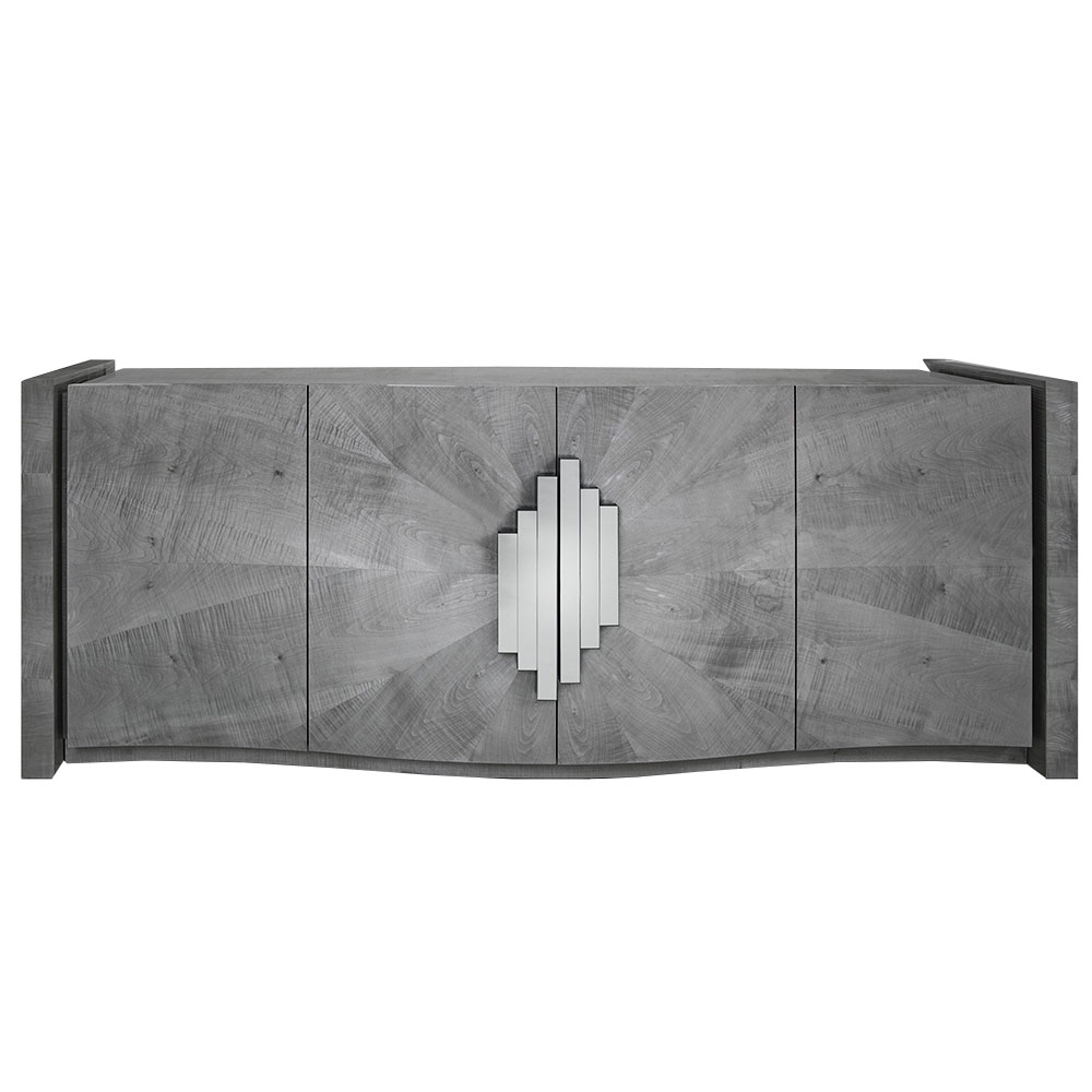 modern wood sideboard with 4 curved front doors and layered metal pulls