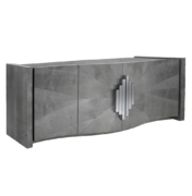 modern wood sideboard with 4 curved front doors and metal pulls angled view