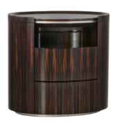 oval wood bedside table nightstand with drawers and niche