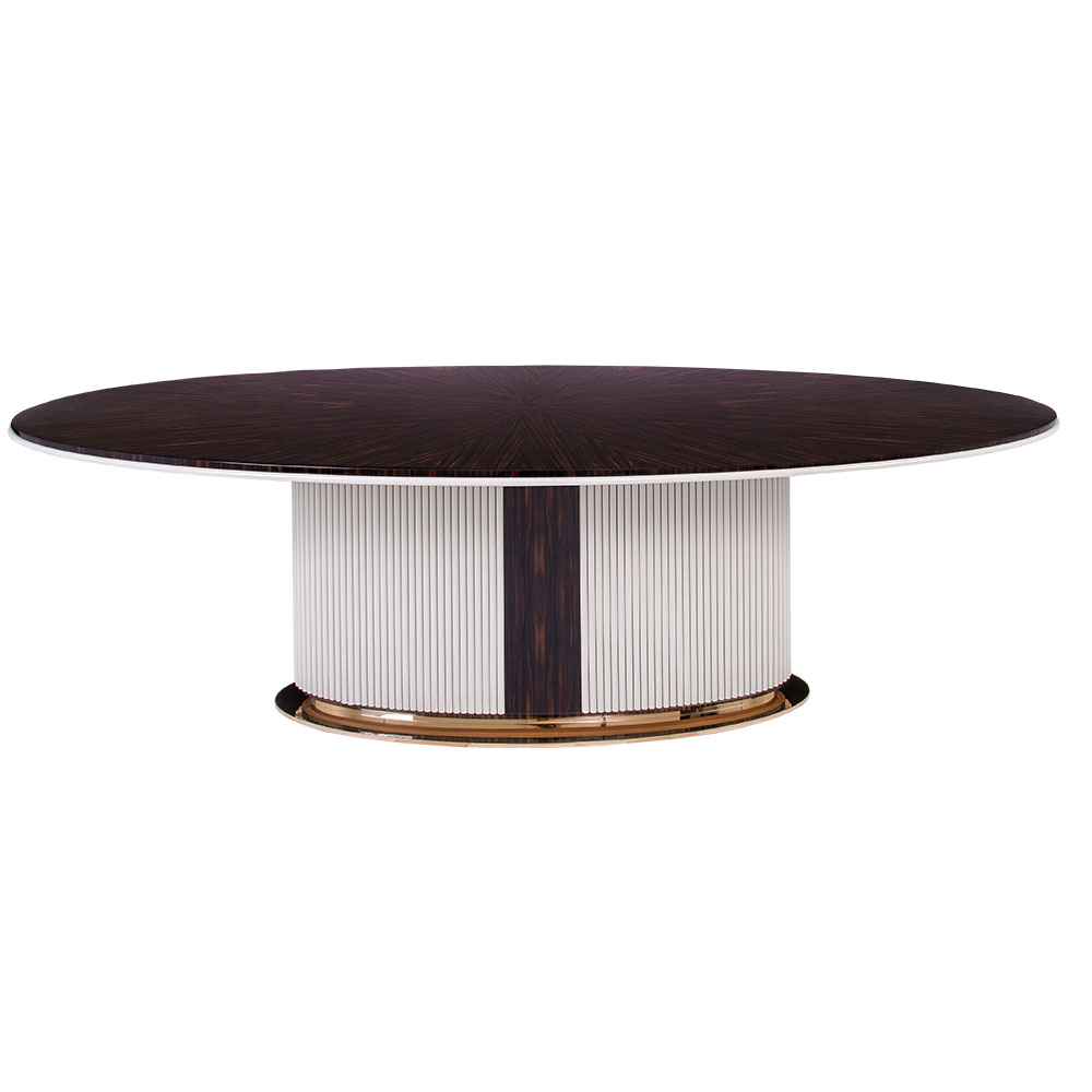 modern oval dining table with lacquered rod pedestal and metal base