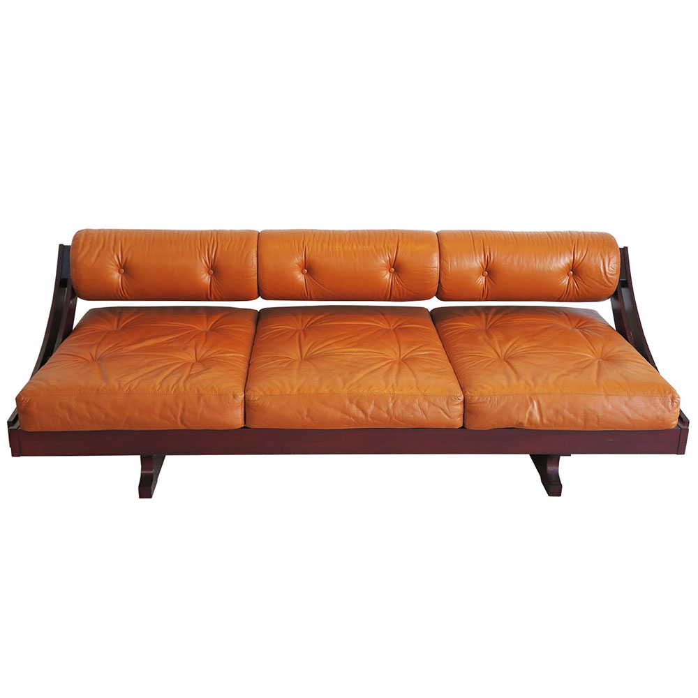 Italian Mid-Century daybed sofa in leather