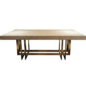 Modern Dining Table with Eucalyptus top and brass metal base