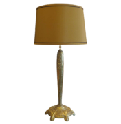 Art Deco Muller Freres table Lamp with floral relief base in brass and olive silk shade