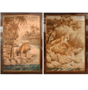 pair of woven tapestry of lion and tiger couple