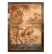 Art Deco woven tapestry of lion and tiger
