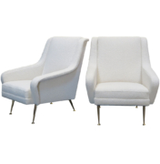 Italian mid-century white boucle fabric lounge chairs