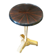 Art Deco style side table with Macassar ebony top and wrought iron base with gold leaf