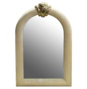 parchment goatskin mirror with brass detail