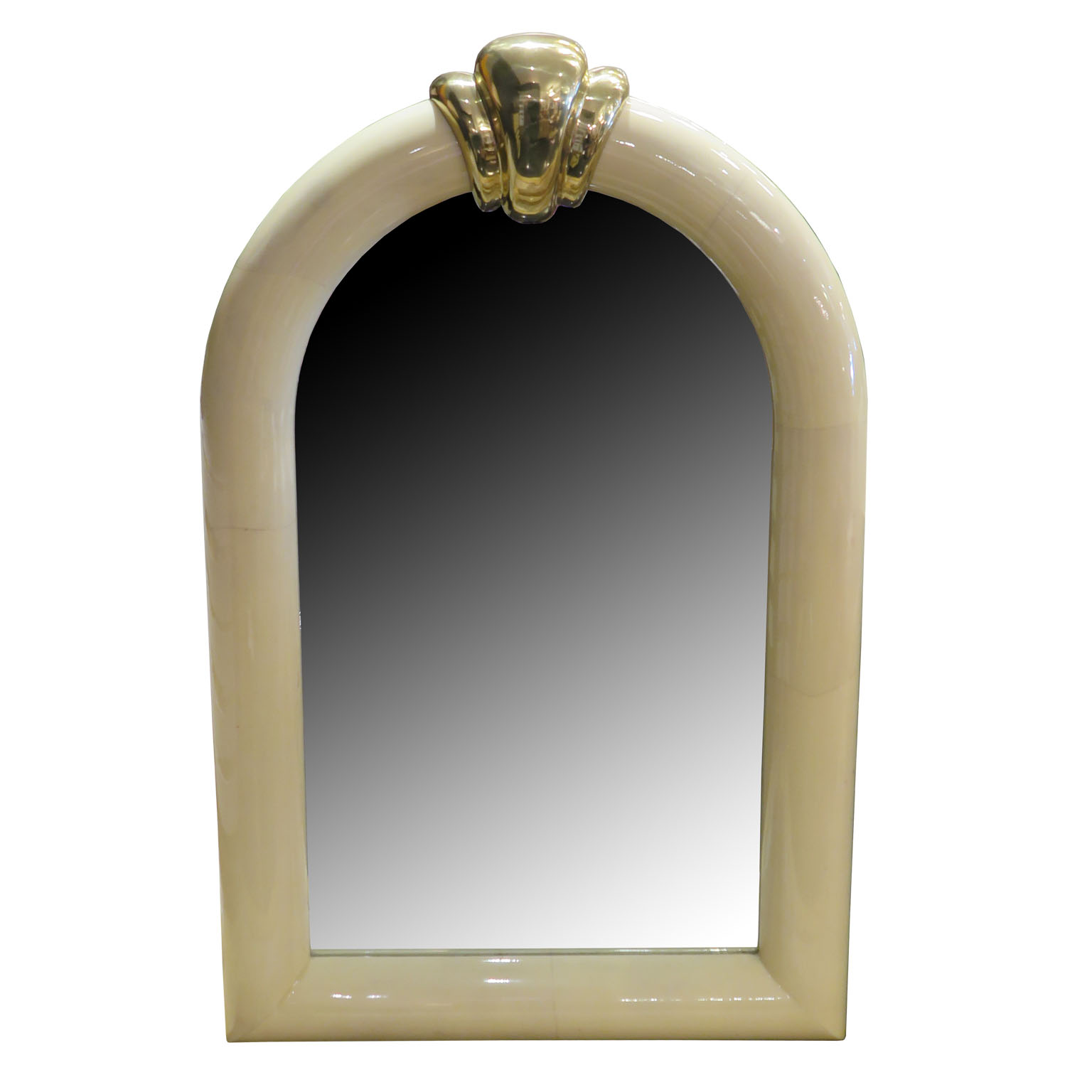 parchment goatskin mirror with brass detail