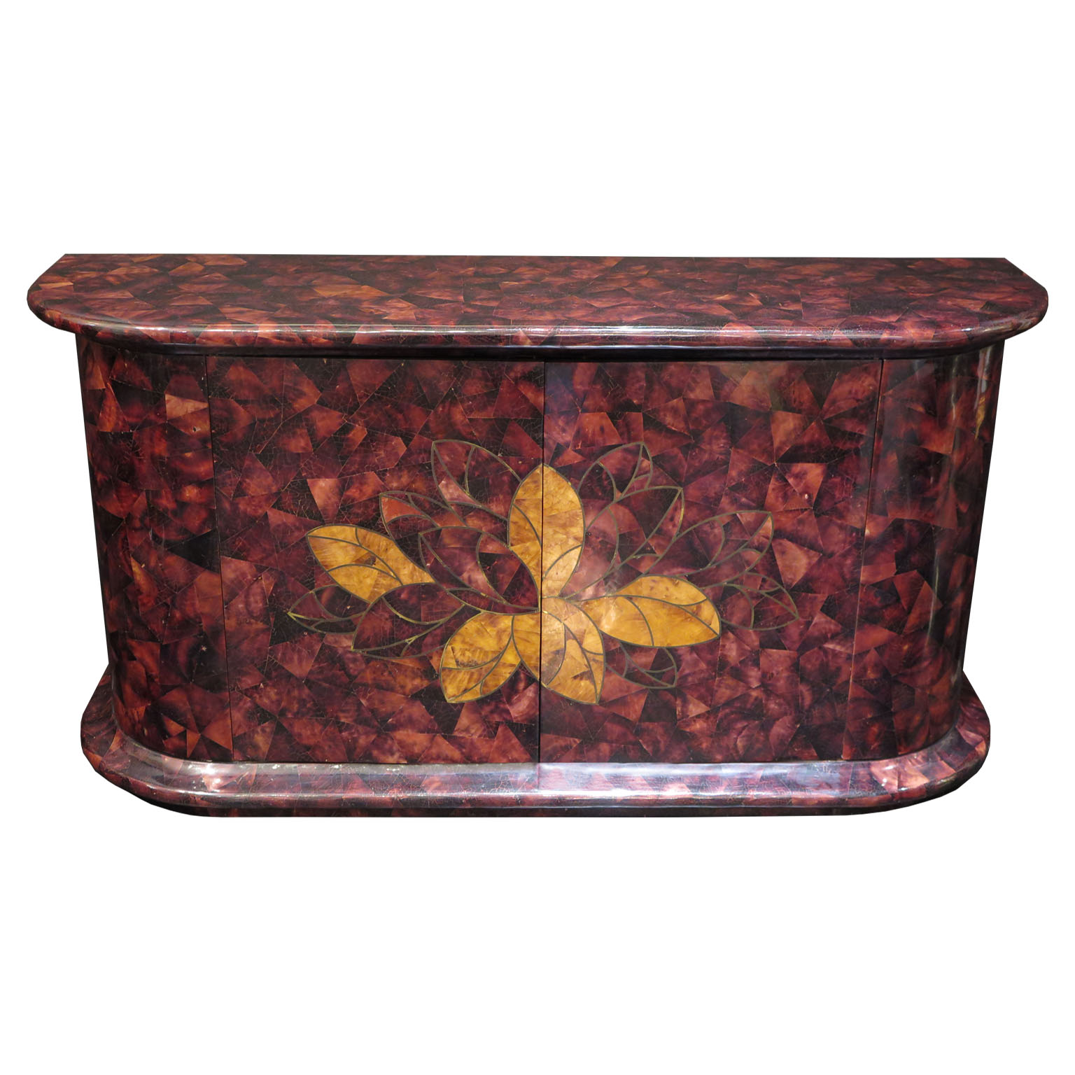 Purple tortoise shell bar console sideboard cabinet with leaves and brass