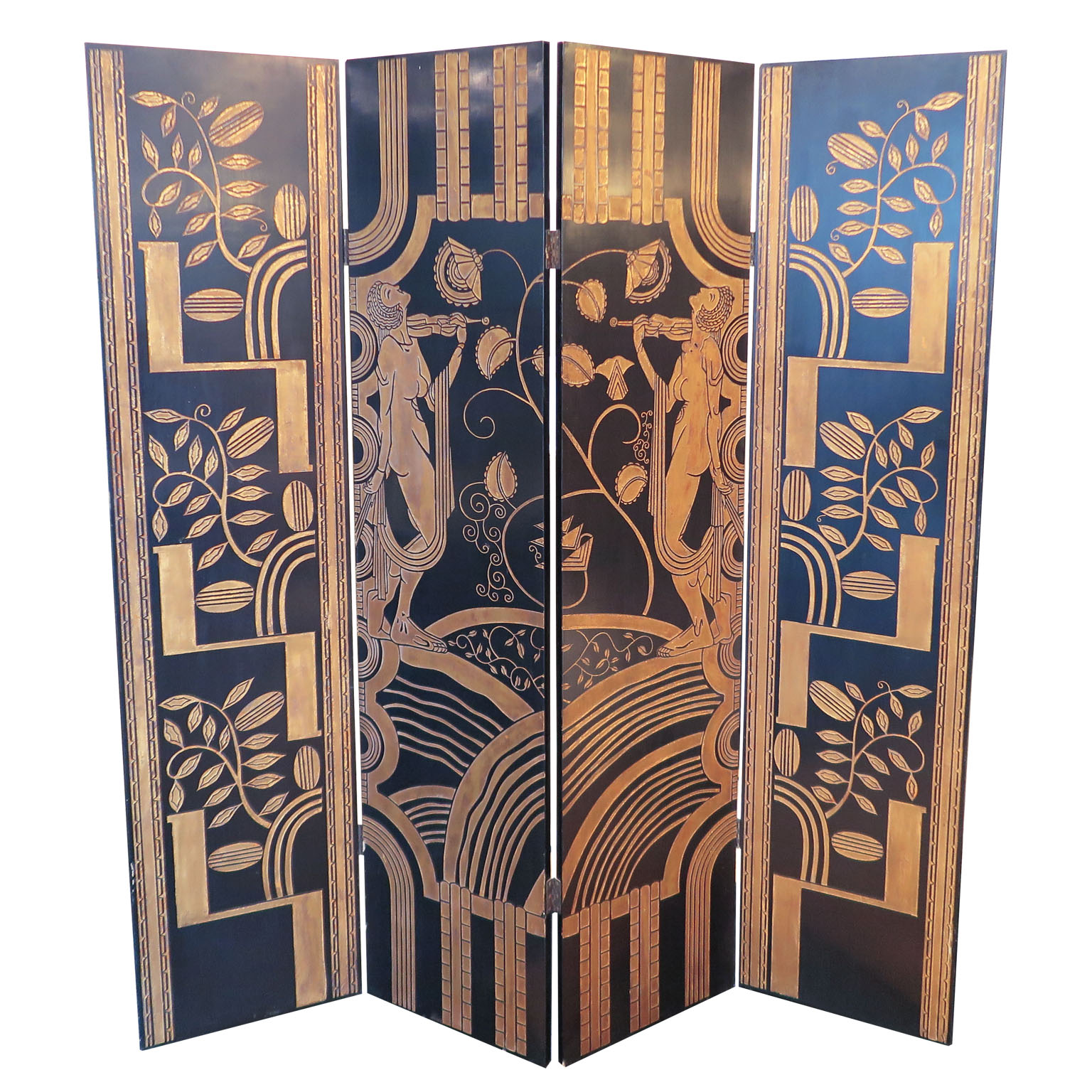 French Art Deco standing screen black and gold