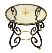 Art Deco round side table in wrought iron with gold leaf details. Glass top with gold leaf star