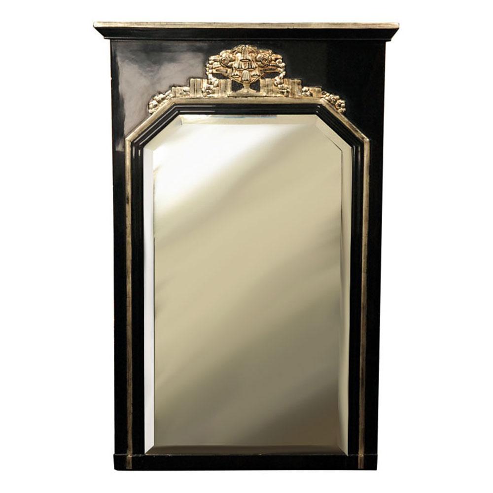 Art Deco Mirror in black and silver leaf