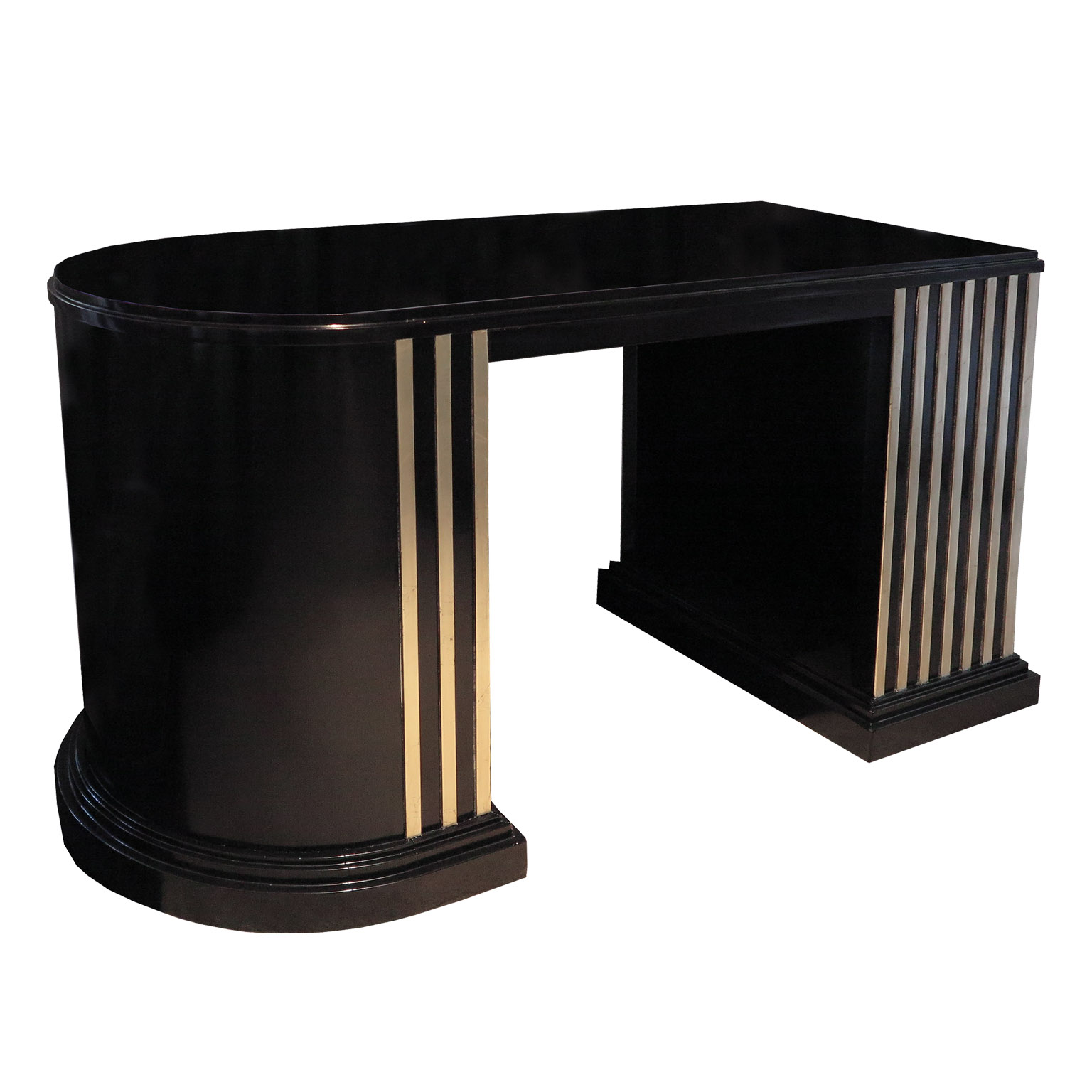 Black demi lune desk with white gold leaf linear details