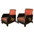 Chinoiserie chairs in black with handpainted Lotus