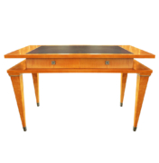 Mid Century Desk in Maple with Leather Top